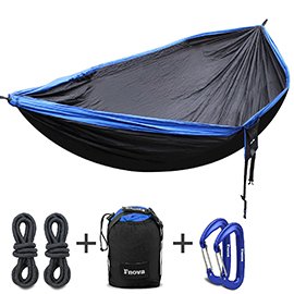 Fnova Double Camping Hammock, Portable 210T Parachute Nylon Fabric Travel Hammock with 2 Suspend Ropes and Carabiners,